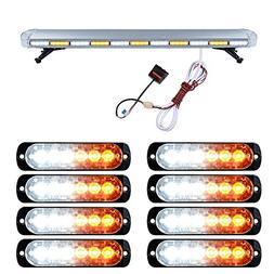 """Set 51"""" White Amber 96 LED Emergency Warning Hazard Strobe L"""