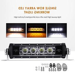 "Auxbeam Single Row LED Light Bar 12"" Amber Flood LED Driving"