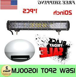 Tri-Row 20''INCH 288W LED Work Light Bar Spot Flood Combo Of