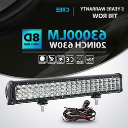 "Tri-Row 20"" Inch 630W Led Work Light Bar Combo Offroad Truck"