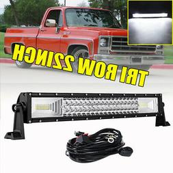 Tri Row 22Inch 1296W LED Light Bar Combo Offroad Driving Fog