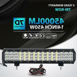 "Tri-row 450W 14""inch LED Light Bar Spot Flood Offroad Drivin"